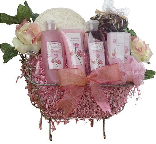 Pretty in Pink Bathtub Spa Bath and Body Gift Basket Set - Rose Scented by Art of Appreciation Gift Baskets. $49.99. Perfect for special occasions, birthdays, holidays, or just to remind her to relax and take care of herself!. Each gift is carefully hand crafted with attention to every detail, tied with beautiful pink ribbon and includes a personalized gift message from you to convey your heartfelt best wishes.. This whimsical wire bathtub is filled with the essence o...