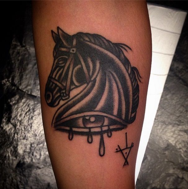Oldschool stallion tattoo by tattoo artist William Roos of StockholmInk Stockholm, Sweden