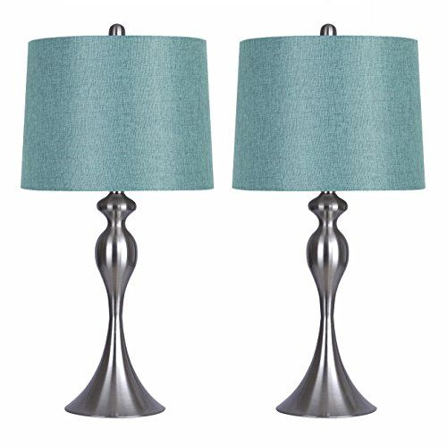 """Grandview Gallery Table Lamps with Turquoise Shade, Set of 2 – Linen and Brushed Nickel 26.5"""" Table Lamps for Bedside, Dressers and Much More"""
