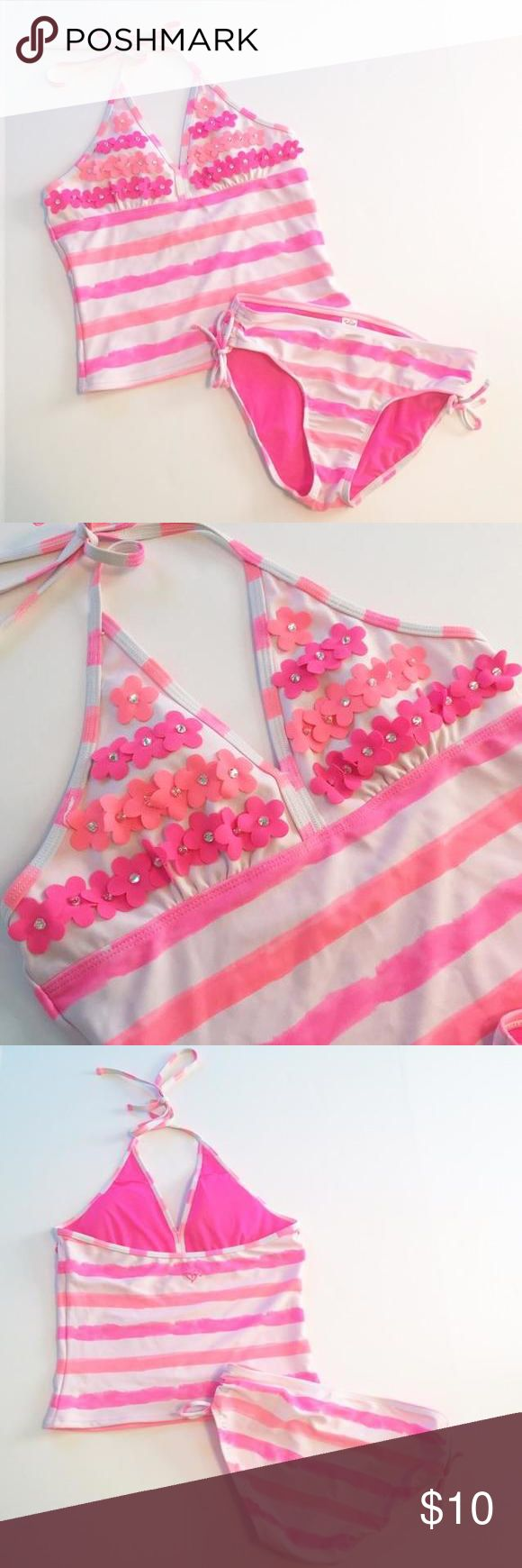 [Justice] Pink Tankini Swimsuit [sz14] [Justice] Pink Tankini Swimsuit with adorable floral detail on chest  [sz14] Excellent Condition! Worn twice. Chest has padding/lining. Justice Swim Bikinis