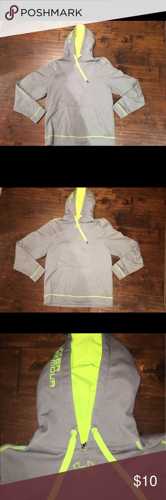 Men's Under Armout Hooded Sweatshirt Gray sweatshirt with lime green accents. Excellent condition! Under Armour Shirts Sweatshirts & Hoodies