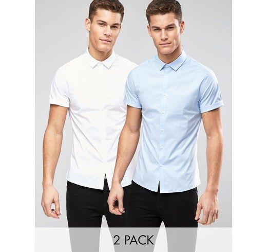 Pack de 2 camisas ajustadas en blanco y azul de ASOS, AHORRA un 15% asos el-azul Algodón