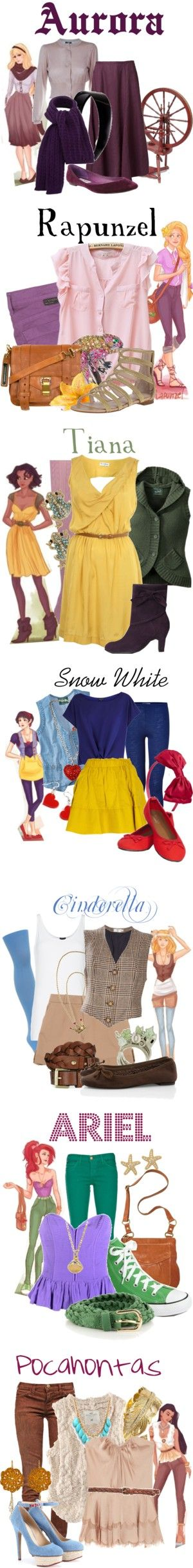 """Hipster Disney Princess Collection"" by agust20 ❤ liked on Polyvore"