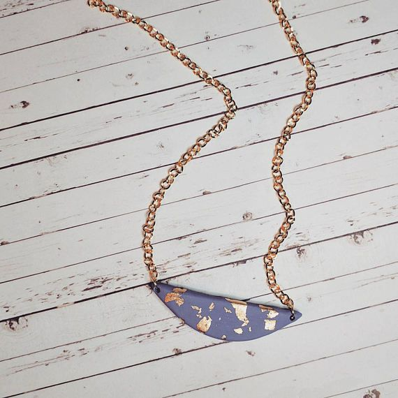 Purple Clay crackle necklace Gold leaf and clay necklace $12 CDN B Thirty Nine https://www.etsy.com/listing/508899764/mini-bib-crackle-necklace-purple-gold