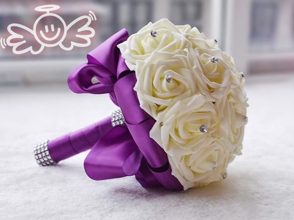 Handmade Artificial Bridesmaid Flowers with  Silk Ribbon