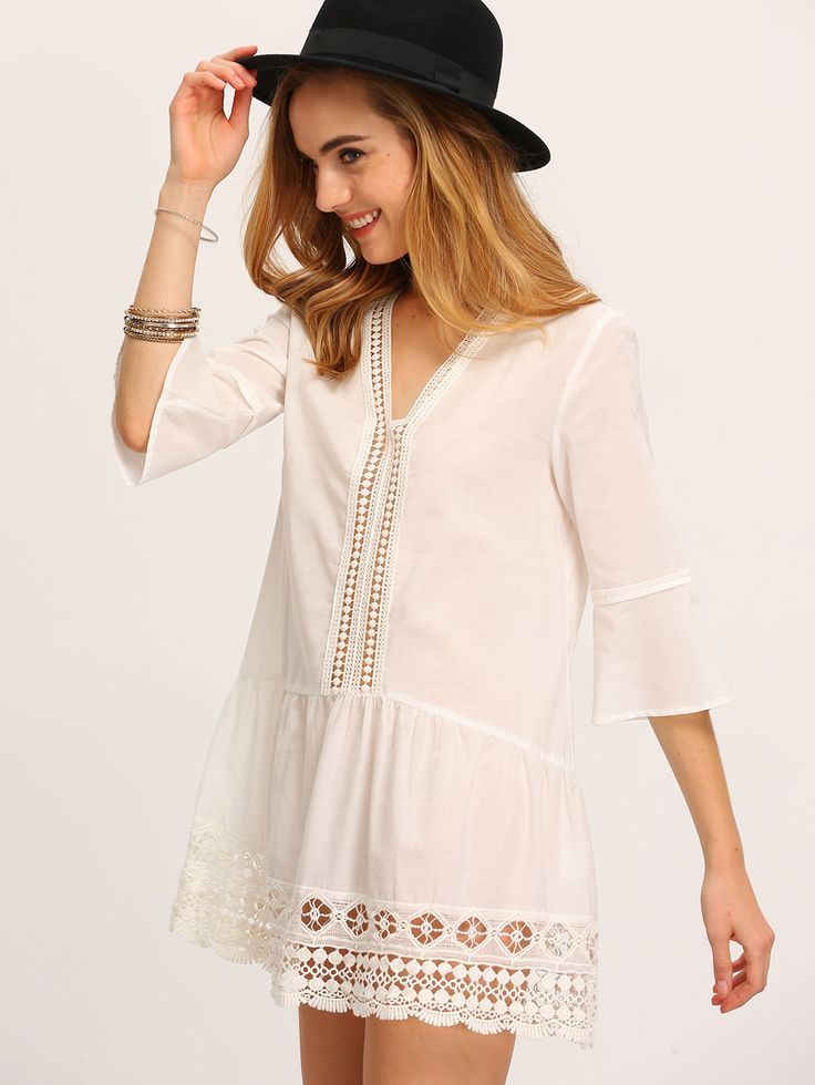 White+V+Neck+Bell+Sleeve+Lace+Eyelet+Blouse+17.99
