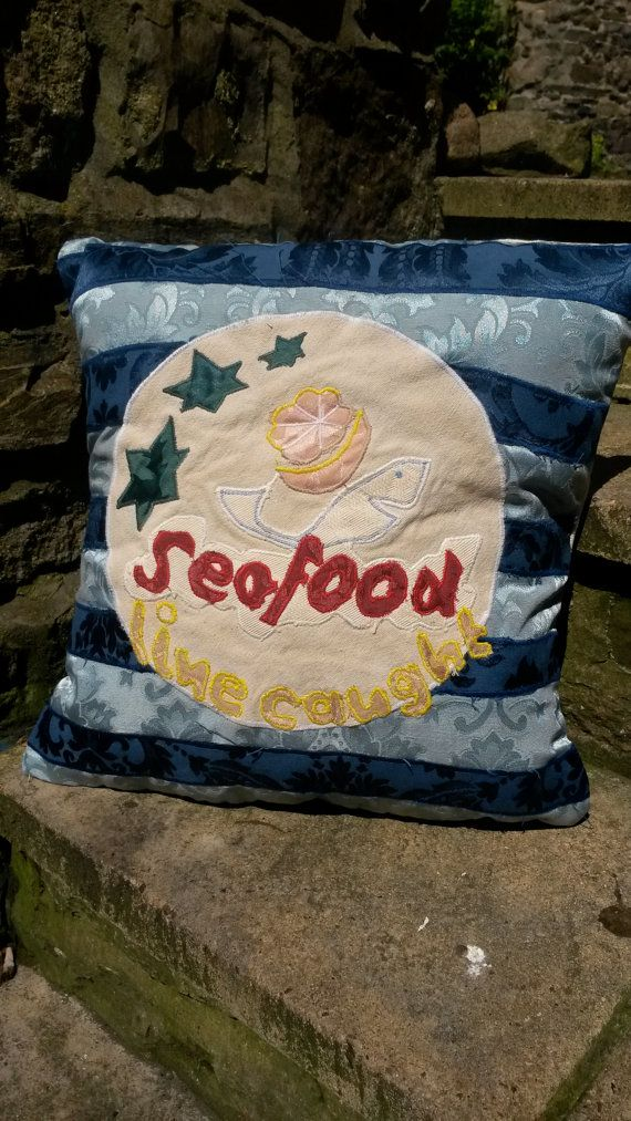 Line Caught Seafood Vintage Food Sign Cushion Pillow by ByeBrytshi