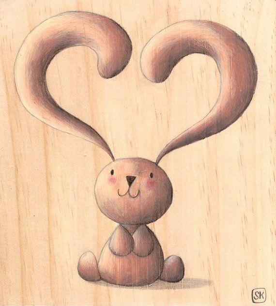 San Valentino: illustrazione coniglietto su legno di Ciacio
