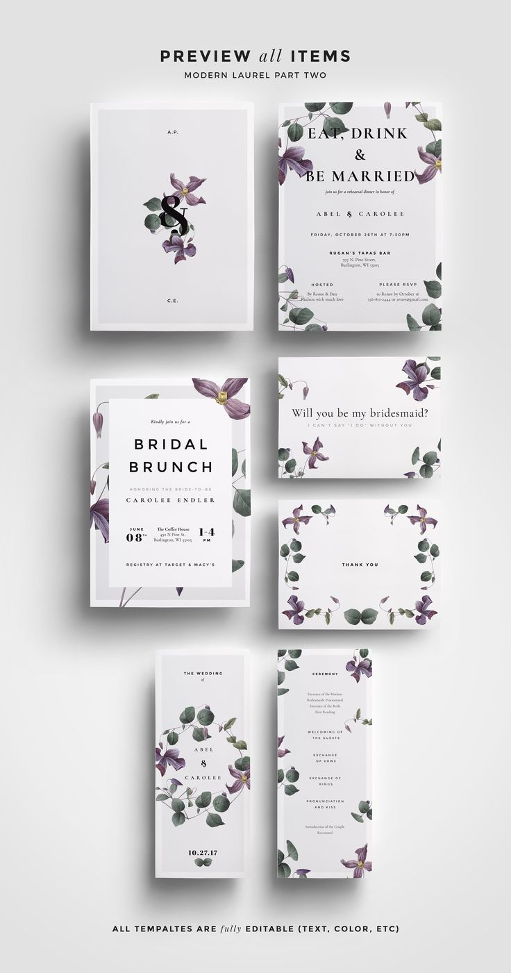 The Modern Laurel Wedding Collection is bigger and better than ever with TWO wedding collections in ONE. The new bundled collection perfectly balances refined typography and expressive florals that is perfect for any style of wedding. The collection includes: Save the Date, Invitation, Menu Card, RSVP, Escort Card, Table Number, 2 Thank You Cards, Bridal Shower Invitation, Bridal Shower, Will You Be My Bridesmaid? Card, Rehearsal Dinner Invitation and Ceremony Program.