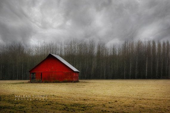 SALE Red Barn Photography Country Landscape Print by MaleahTorney