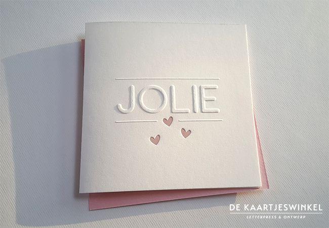 Letterpress geboortekaartje meisje – Jolie Deze kaart kan ook geprint worden. Copyright De Kaartjeswinkel Een mooi geboortekaartje voor Jolie wat wij hebben mogen ontwerpen en drukken. Mooi in zijn eenvoud. De...