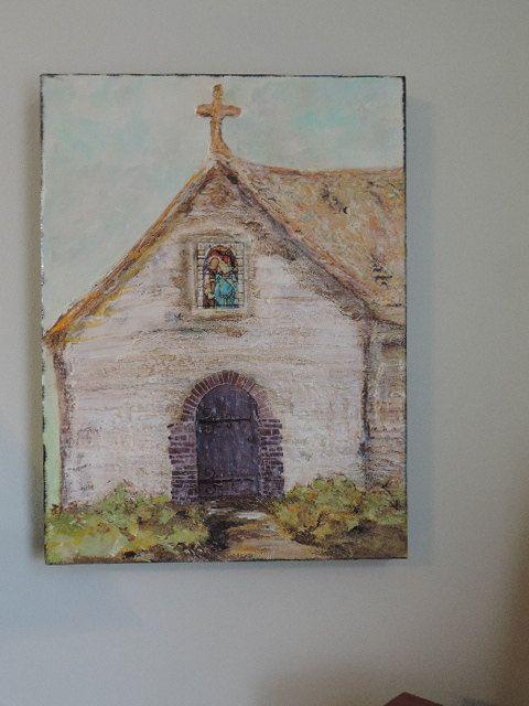 "Religious Acrylic Art on Canvas ""Little Church Donuts Built "" OOAK on Etsy, $56.00"