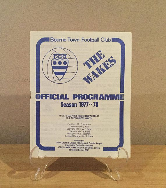 Bourne Town Football Club Programme 1977/78