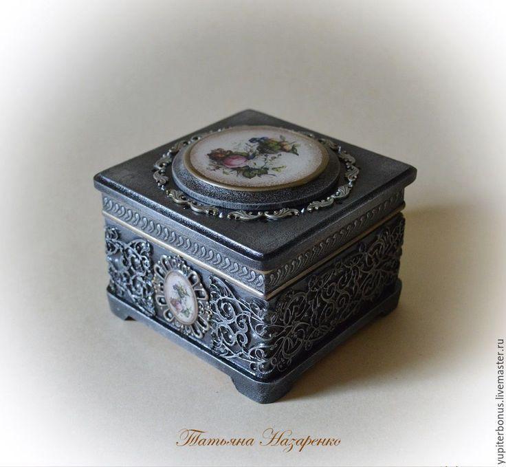 Купить Шкатулка для украшений. - серебряный, серый, черный, имитация серебра, имитация чеканки, имитация финифти