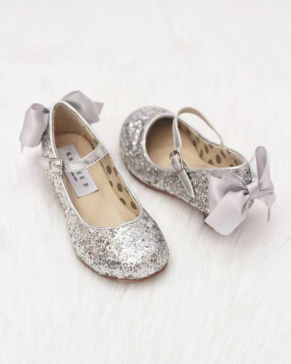 Girls Glitter Heels - Allover SILVER Glitter Maryjane Heels With Satin Bow #GlitterGirl