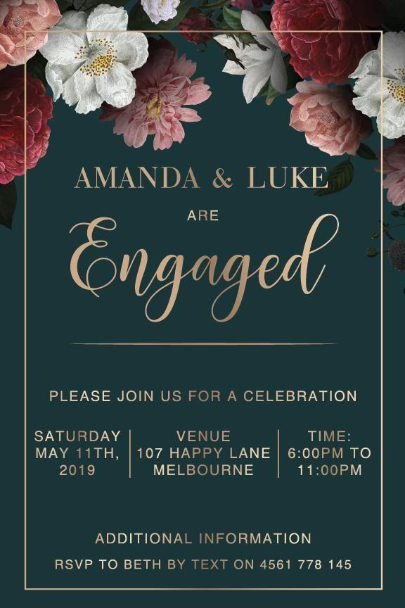 Emerald Posy Free Engagement Invitations Engagement Invitations Engagement Invitation Cards