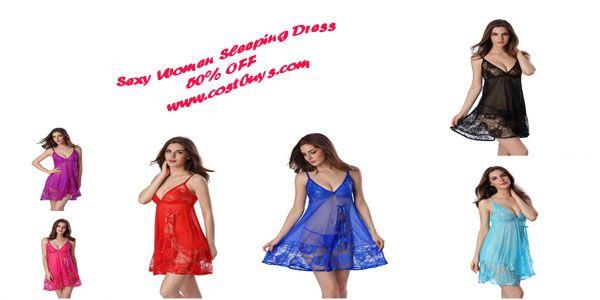 Sexy Nightgown Night gown Sleep dresses Women Sleeping Dress and String Set Deep V Sleepwear Lingerie XXL XXXL