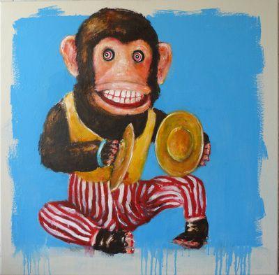 Still life with cymbals monkey 75cm x 75cm seabastion toast