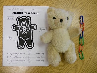 Measurement activity - have students bring in a stuffed animal bear to measure with links during math class.
