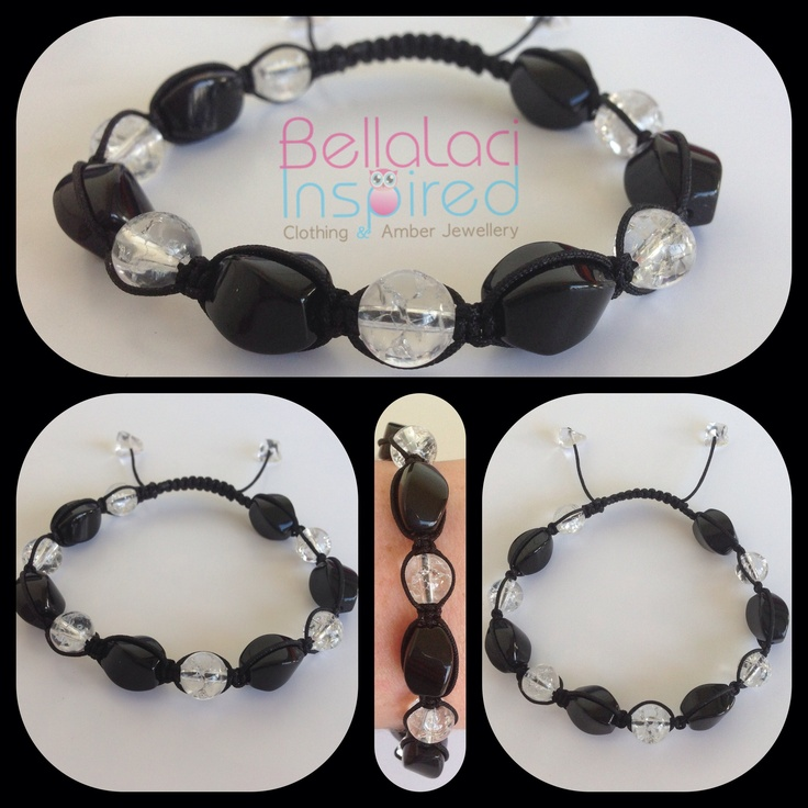 Black Onyx Twists & Clear Crackle Quartz  www.bellalaciinspired.com.au