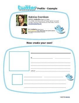 "Twitter feed as a fun way to assess reading comprehension for any content area. Use as exit slips or quick reviews. Students love to ""tweet"" as characters or historical figures. They can also create a Twitter profile (shown in pic). Download includes 5 pages of handouts/directions. FREE!: Chapter Summary, Reading, Technology, Student, She, Hunger Games, Classroom Ideas, Language Arts"
