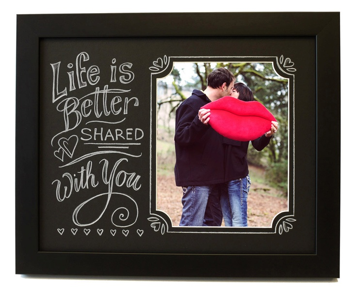 Life is Better Shared with You Chalkboard Style Hand Lettered Art Decorative Picture Frame.