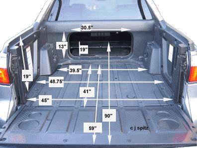 subaru baja cargo bed dimensions and measurements subaru. Black Bedroom Furniture Sets. Home Design Ideas