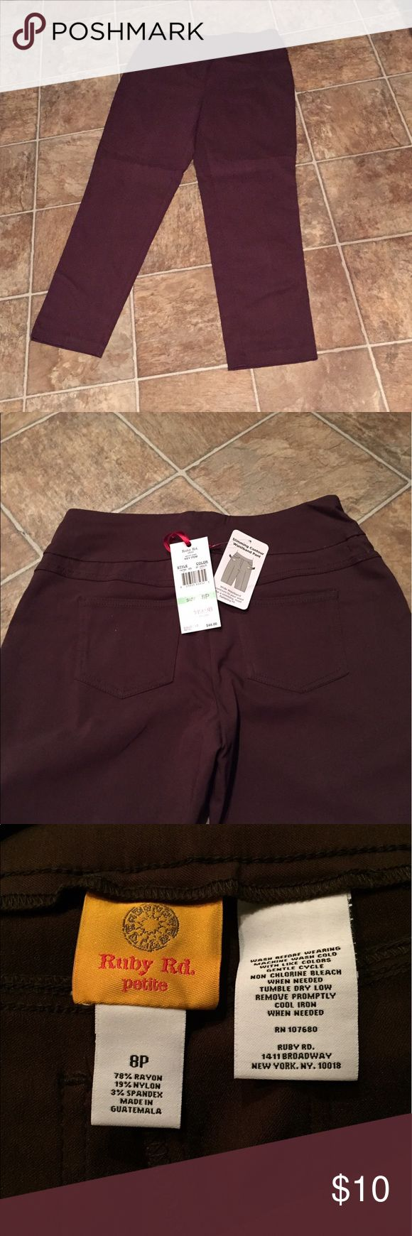 Ruby Rd Slimming Contour Waistband pull on pants 8 Ruby Rd Slimming Contour Waistband pull on pants.  8 petite. Brown Ruby Rd Pants Trousers