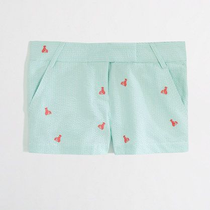 J Crew Factory - embroidered seersucker short [too bad this sold out, would have been great for Uncle Wally's bday!]