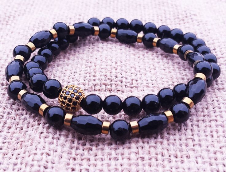 Mens Black Bracelet Stack Black And Gold Bracelet Cubic Zirconia Bling Bracelet Mens Onyx Bracelet Fathers Day Gifts Boyfriends Gifts