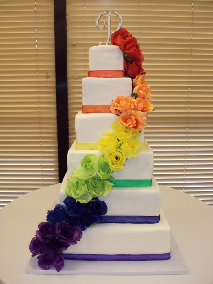 rainbow wedding cake.