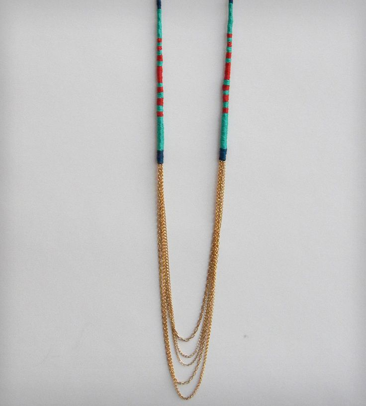 Thread Wrapped Long Gold Necklace | This colorful gold necklace is wrapped in gold, turquoise, blu... | Necklaces