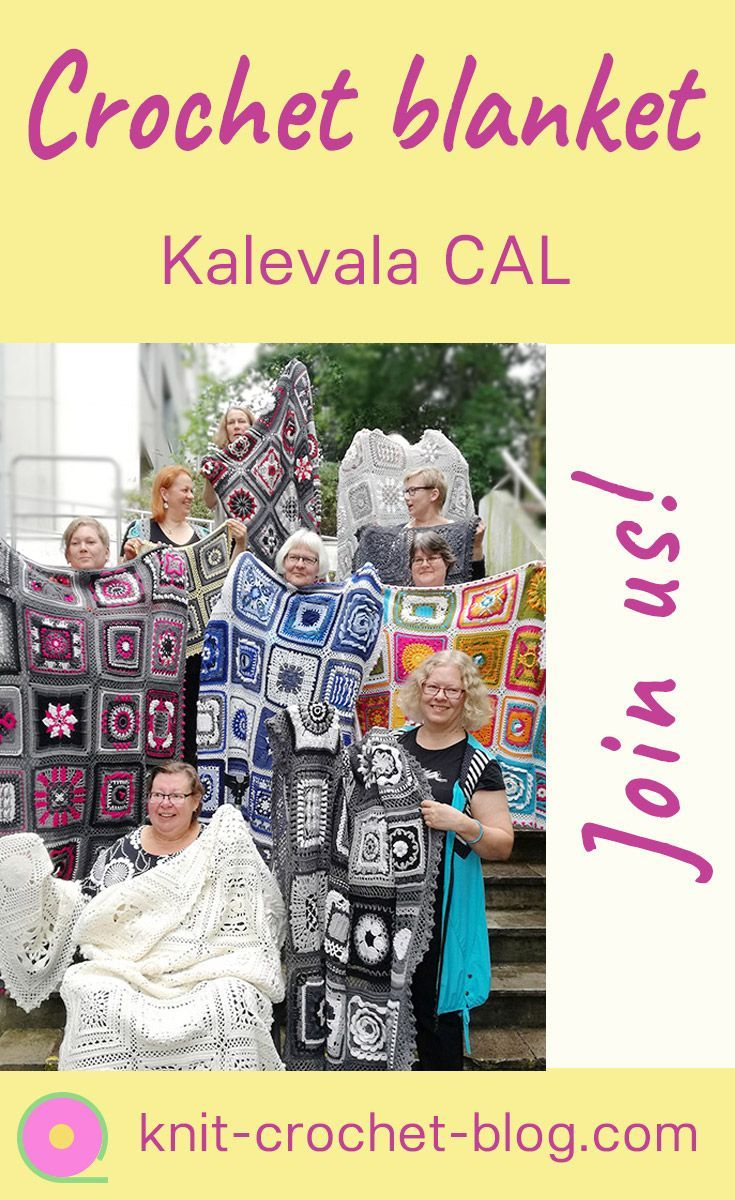 Kalevala CAL Crochet-along. A blanket project. 28 different crochet squares by a group of Finnish crochet designers. #crochetblanket