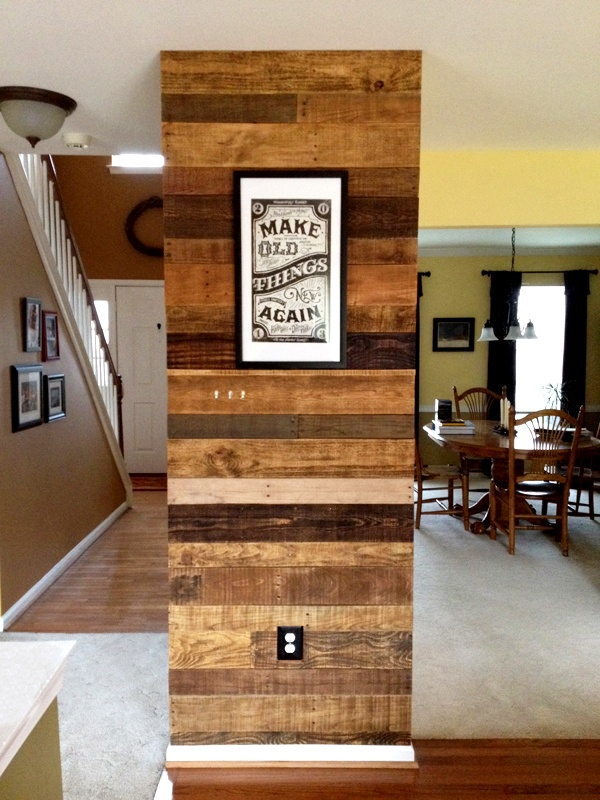 Accent wall faced with old pallet wood each board - Wooden pallet accent wall ...