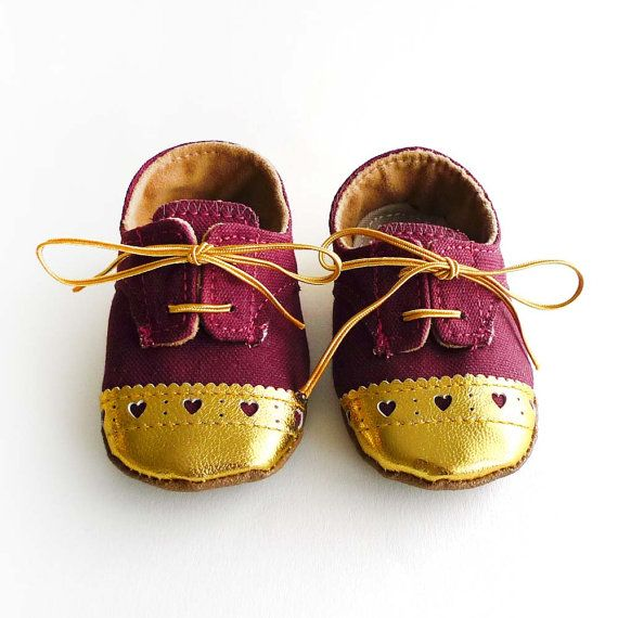 Baby Girl Shoes Burgundy Canvas with Gold Brogued Beige by ajalor, $33.00