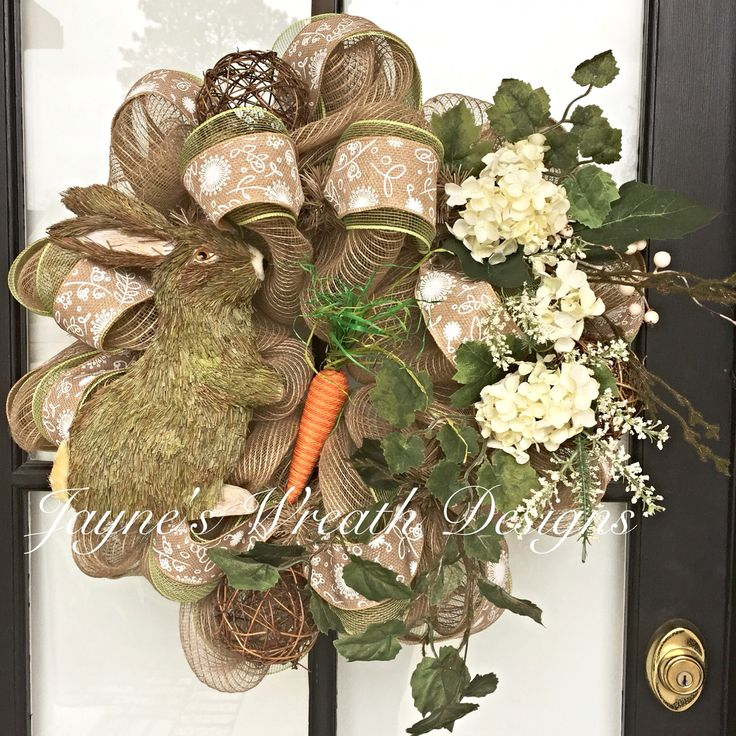Natural Burlap Easter Wreath with Bunny by