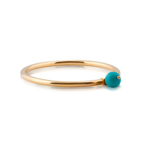 Gem Orb Gold Bangle. Turquoise