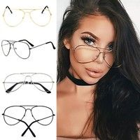 Wish | Punk Style Fashion Gold Frame Clear Glasses Myopia Clear Frame Glasses Women Men Spectacle Frame Clear Lens Optical Punk Glass Lunette Unisex Eyewear
