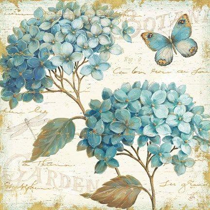 Framed Blue Garden V Print