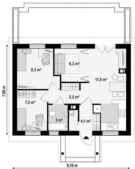 Планировка одноэтажного дома размером 7х9 проекта Зоя