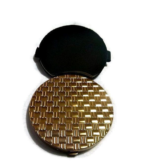 40s Hollywood Regency Compact Gold Basketweave MAJESTIC Black