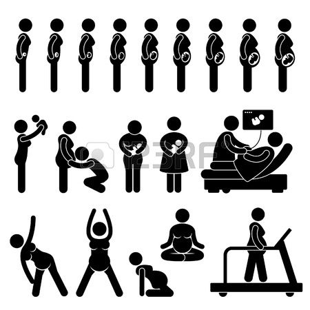Pregnant Pregnancy Stages Process Prenatal Development Mother Baby Exercise Stick Figure Pictogram Icon photo