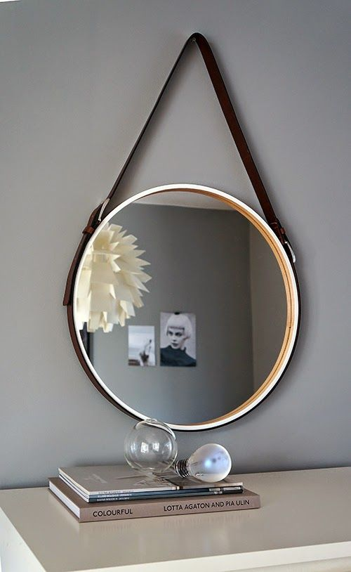Diy - Ikea 'Skogsvåg' mirror with simple leather belt