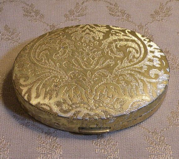 Avon Compact Mirror Case Damask 1960s By