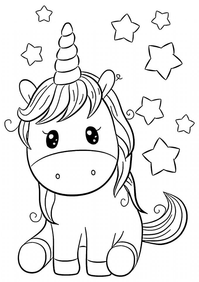 Childhood Dreams - High-quality Free Coloring From The Category: Unicorn.  More Printable Pict… In 2020 Unicorn Coloring Pages, Mermaid Coloring  Pages, Baby Coloring Pages