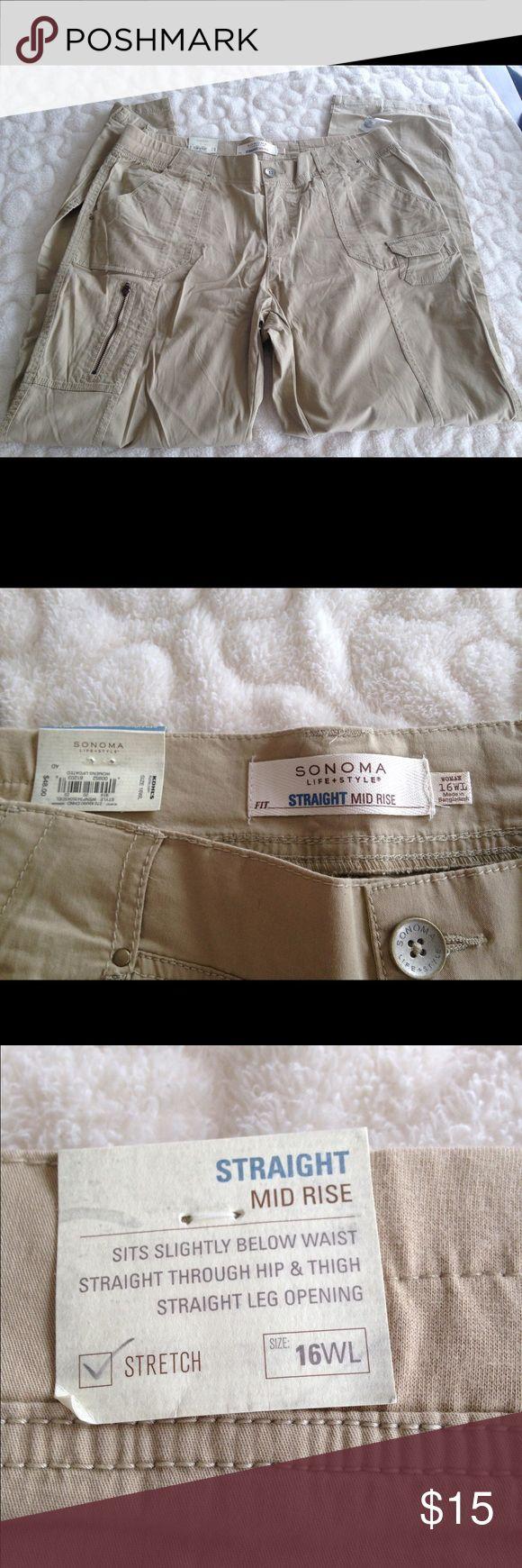 NWT Sonoma Woman's plus size Pants NWT Sonoma Woman's Plus size khaki pants, straight, mid rise, size 16WL Sonoma Pants Straight Leg