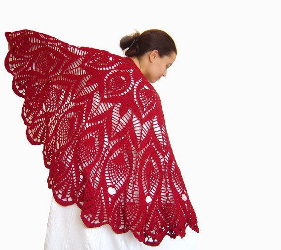 Triangle Scarf Lace Shawl Ladies Scarves by UniqueKnitsNadamlada