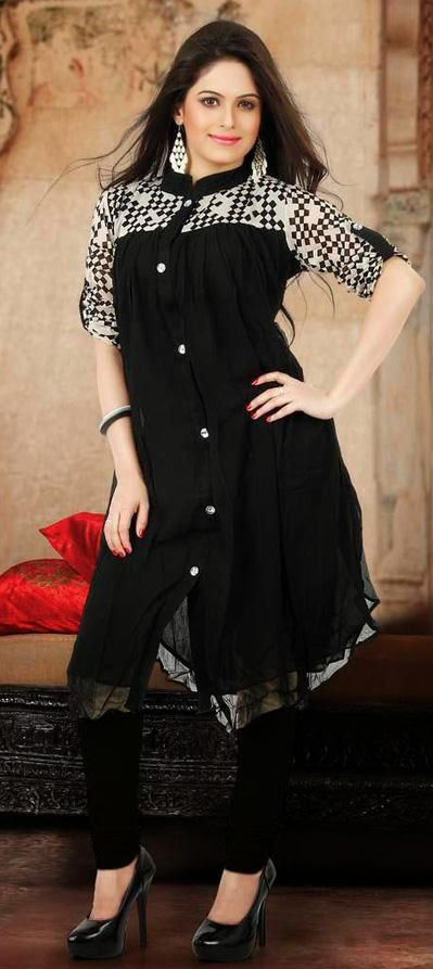 USD 57.05 Black Printed Faux Georgette Designer Kurti 27105