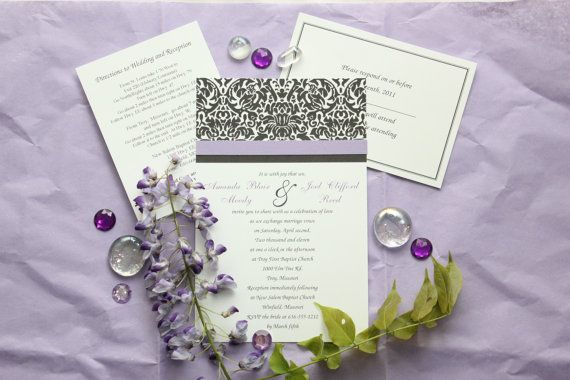 Purple Wedding Invitation Set with Damask by KardsbyKaylee on Etsy, $2.50 @Melissa Squires-Ella Seymour. You can use a different shade of purple
