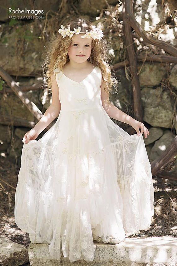 b8e4fc88f3 Boho-chic Girls Dress, Vintage Ivory Lace Flower Girl Dress, Flower Girl  Floor Length Tiered Dress, Boho flower girl dress, Bohemian Wedding NEW  INSTAGRAM ...